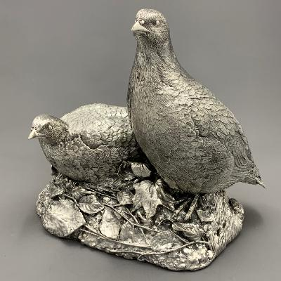 Pair Large Silver PARTRIDGES