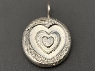 MALCOLM APPLEBY Silver HEART PENDANT - SPIRAL