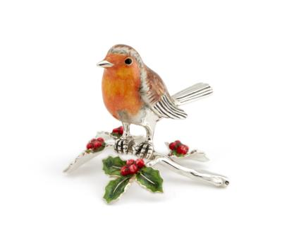 Saturno Silver and Enamel Robin on Holly