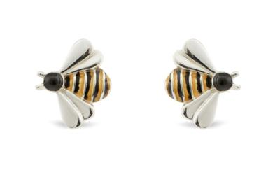 x Saturno Silver and Enamel BEE Cufflinks