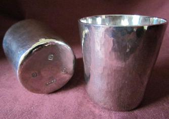 RONALD GRANT Silver Hammered Beakers