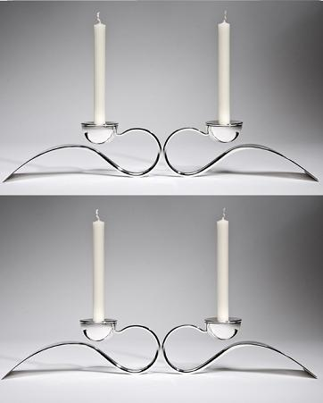 Contemporary Design Silver 'Ampersand' Candlesticks