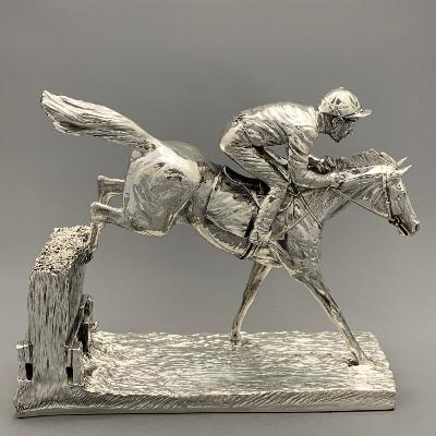 Silver RACEHORSE 'OVER THE STICKS'