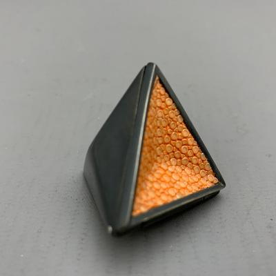 JAMES DOUGALL Oxidised Silver and Orange Shagreen GEODE BOX