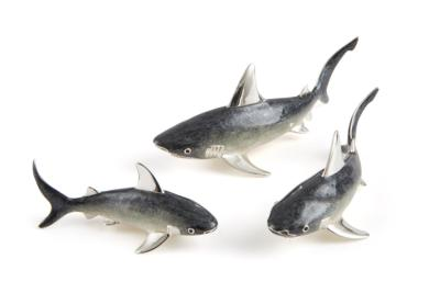 Saturno Silver and Enamel Sharks