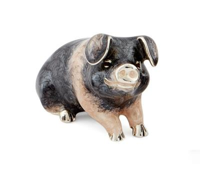 Saturno Silver and Enamel Saddleback Pig