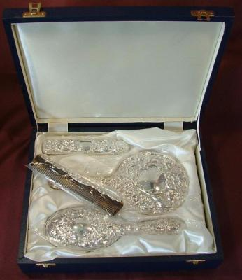 Silver Embossed Dressing Table Set