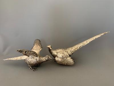 Pair Silver PHEASANTS