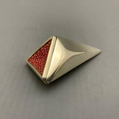 JAMES DOUGALL Small Silver and Red Shagreen CONE BOX