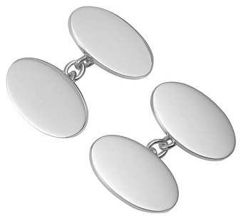Silver Plain Oval Cufflinks