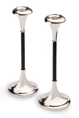Silver and Ebony Candlesticks