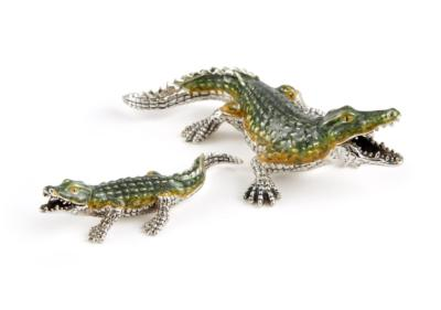 Saturno Silver and Enamel Crocodile