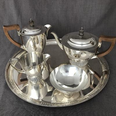 BRIAN CAIN  Silver Tea Set on Tray