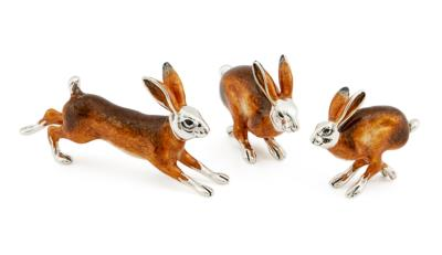 Saturno Silver and Enamel Hares