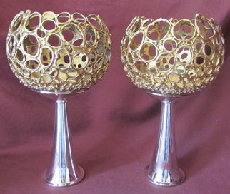 GRAHAM WATLING Pair Silver Candle Holders