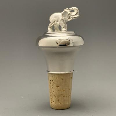 Silver BOTTLE STOPPER - ELEPHANT