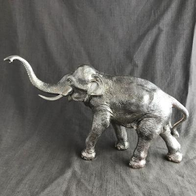 Large Silver ELEPHANT - TRUNK UP