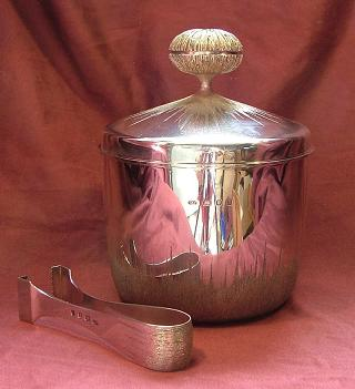 CHRISTOPHER LAWRENCE Silver Ice Bucket and Tongs