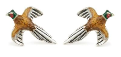 x Saturno Silver and Enamel FLYING PHEASANTS  Cufflinks