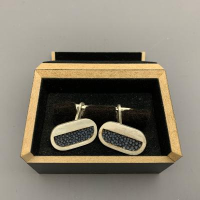 x JAMES DOUGALL Silver and Grey Shagreen CUFFLINKS