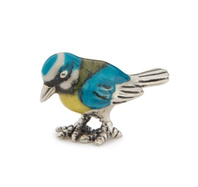 Saturno Silver and Enamel Blue Tit