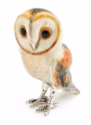 Saturno Large Silver and Enamel Barn Owl