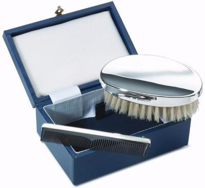 Gents Silver Hair Brush Set