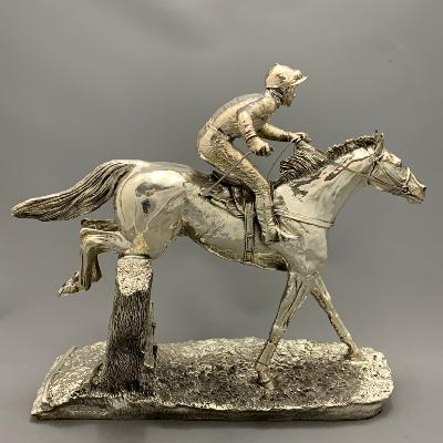 Large Silver RACEHORSE 'OVER THE STICKS'