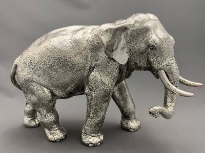 Large Silver ELEPHANT - TRUNK DOWN