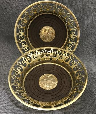 ANTHONY ELSON Pair Silver GILT Coasters