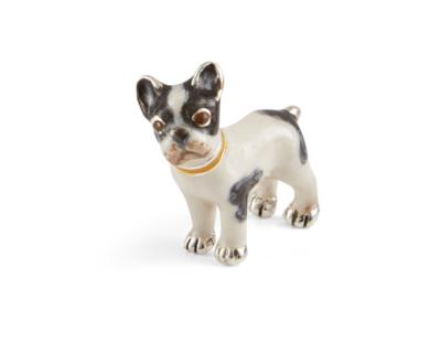 SATURNO Silver and Enamel FRENCH BULLDOG