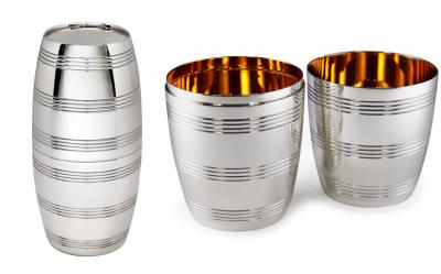Silver Pair of Barrel Beakers