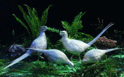 Pair Life Size Silver Pheasants