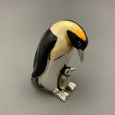 SATURNO Silver and Enamel PENGUIN & CHICK