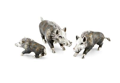 Saturno Silver and Enamel Wild Boar