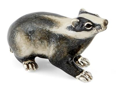 Saturno Silver and Enamel Badger