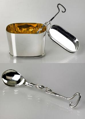 Contemporary Design Silver Bowl and Spoon