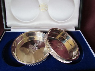 ANTHONY ELSON Pair Silver Coasters