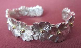 Silver Primrose Bangle with Gold Beads