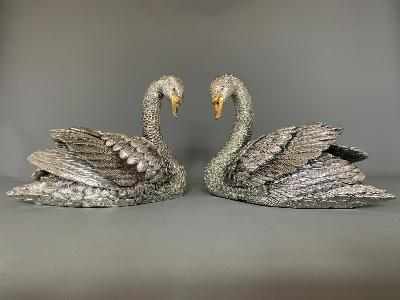 Pair Silver SWANS