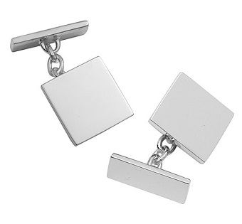 Plain Square Silver Cufflinks