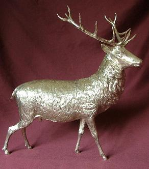 x Large Cast Silver Stag