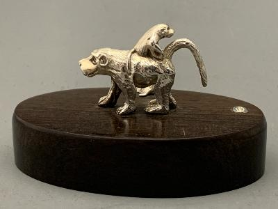 PATRICK MAVROS Silver PLACE CARD HOLDER - BABOON & BABY