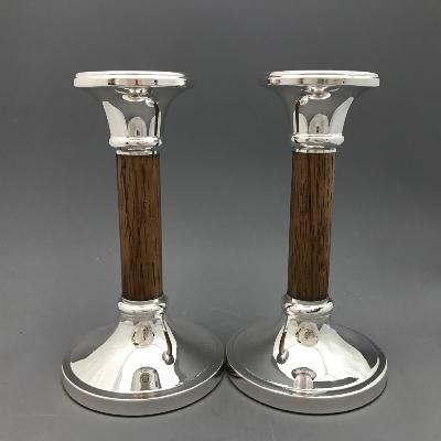 Pair Silver & Oak Candlesticks 6""