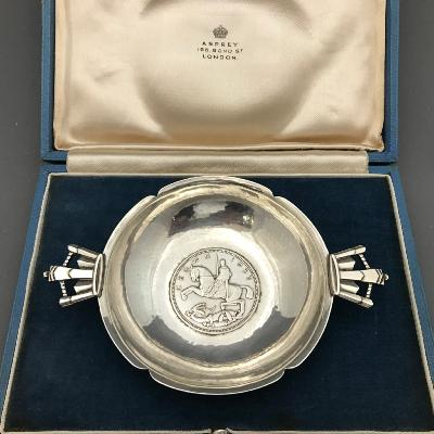 R E STONE Silver 1935 Crown Dish for ASPREY