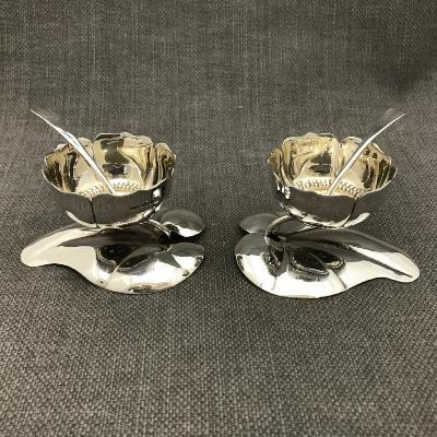 SARAH JONES Pair of Silver 'WATER LILY' Salts