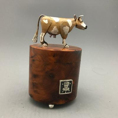CAROL MATHER Silver & Walnut COW BOX