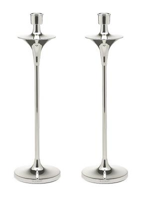 Pair Silver CANDLESTICKS - TALL MODERN DESIGN