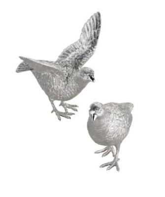Pair Silver Partridge