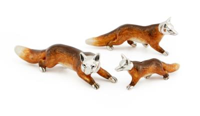 Saturno Silver and Enamel Fox
